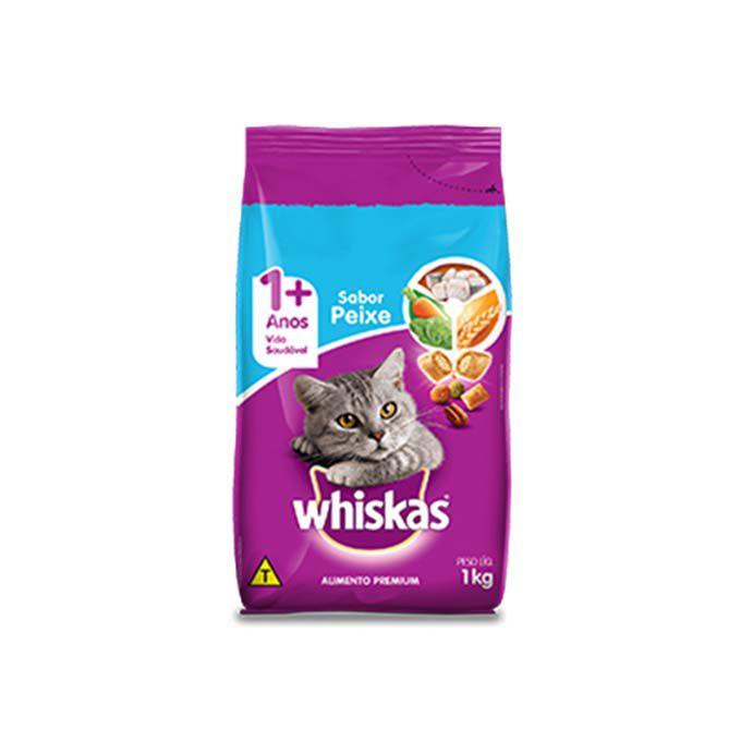 Ração Whiskas para Gatos Adultos - Sabores Carne, Frango ou Peixe