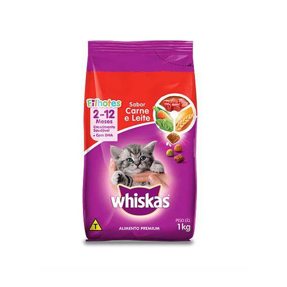 Ração Whiskas para Gatos Filhotes Carne e Leite