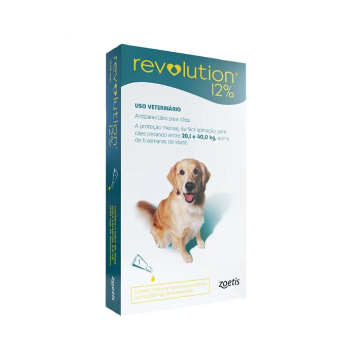 Revolution Antipulgas 12% 240mg para Cães de 20,1kg a 40kg