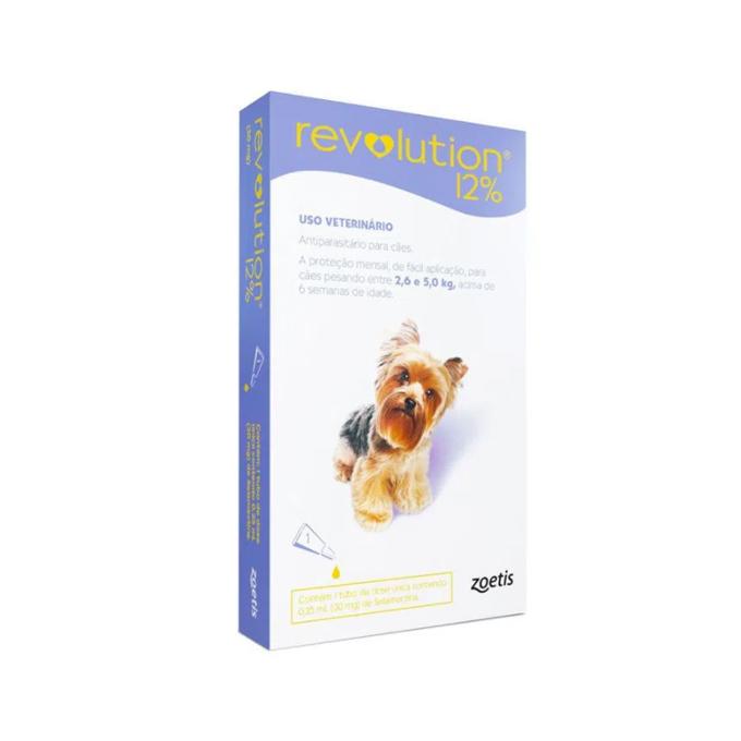 Revolution Antipulgas 12% 30mg para Cães de 2,6kg a 5kg