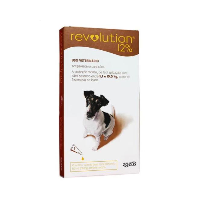 Revolution Antipulgas 12% 60mg para Cães de 5,1kg a 10kg