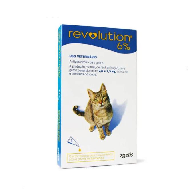 Revolution Antipulgas 6% 45mg para Gatos de 2,6kg a 7,5kg
