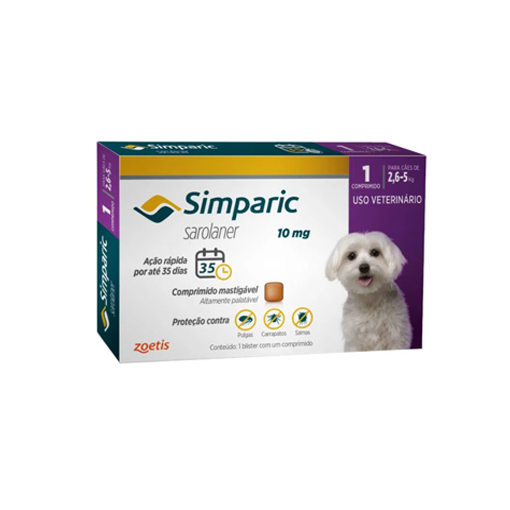 Simparic Antipulgas 10mg para cães de 2,6 a 5kg