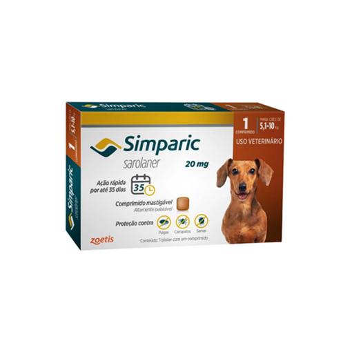 Simparic Antipulgas 20mg para cães de 5,1 a 10kg