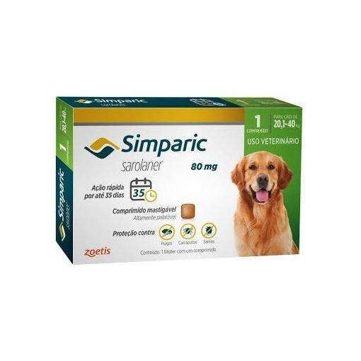 Simparic Antipulgas 80mg para cães de 20,1 a 40kg