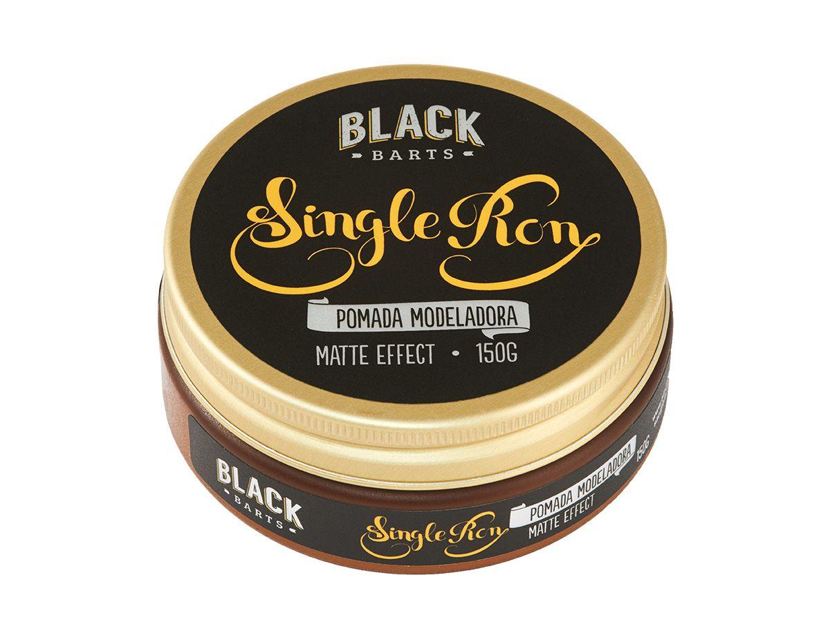 03 Pomada Modeladora Matte Efeito Seco + 03 Grooming Texturizante e Modelador para Cabelo Black Barts® Single Ron  - Black Barts