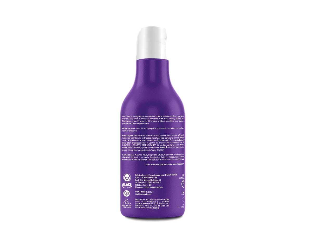 6 Álcool em Gel 70% Higienizador de mãos 300ml Com Aloe Vera Black Barts  - Black Barts