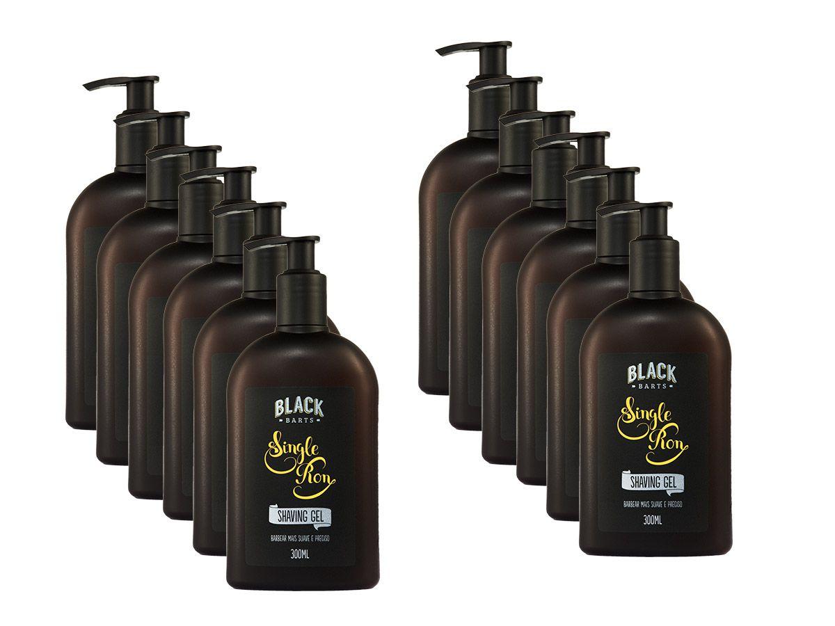 12 Shaving Gel para Barbear Transparente Black Barts® Single Ron  - Black Barts
