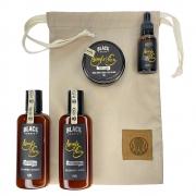Kit + Bag Artesanal Exclusiva Com Shampoo + Condicionador + Balm + Óleo Black Barts®️