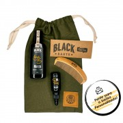 Kit + Bag Artesanal Exclusiva Com Shampoo + Óleo de Barba + Pente Madeira Curvo Black Barts® Single Ron