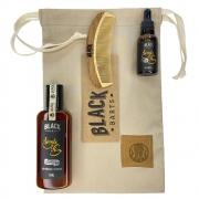 Kit + Bag Artesanal Exclusiva Com Shampoo + Óleo de Barba + Pente Madeira Curvo Black Barts® Single Ron