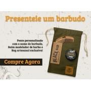 Kit + Bag Artesanal Exclusiva + Pente de Madeira Curvo + Balm Modelador de Barba em Cera Black Barts®