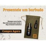 Kit + Bag Artesanal + Shampoo Para Limpeza de Barba + Óleo Hidratante de Barba Black Barts®