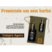 Kit + Bag Artesanal + Shaving Gel Creme de Barbear + Loção Pós Barba em Spray Black Barts®