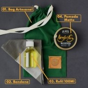 KIT 05 - BANDANA EXCLUSIVA BLACK BARTS + REFIL BLACK 100ML +  BAG ARTESANAL PARA PRESENTE + POMADA MODELADORA MATTE EFEITO SECO BLACK BARTS® 150g