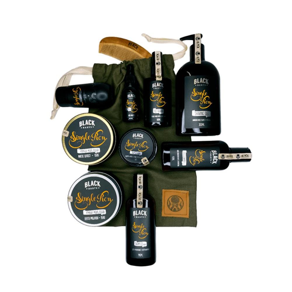 Bag Artesanal Exclusiva + Kit Completão para Barba e Cabelo Linha Completa Black Barts® Single Ron  - Black Barts