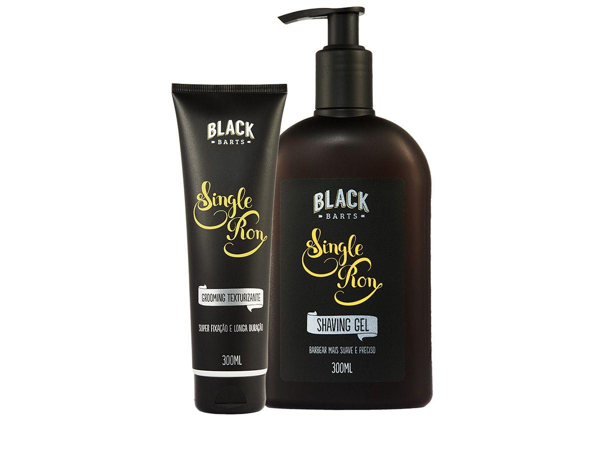 Grooming Texturizante e Modelador + Shaving Gel para Barbear Transparente Black Barts® Single Ron  - Black Barts
