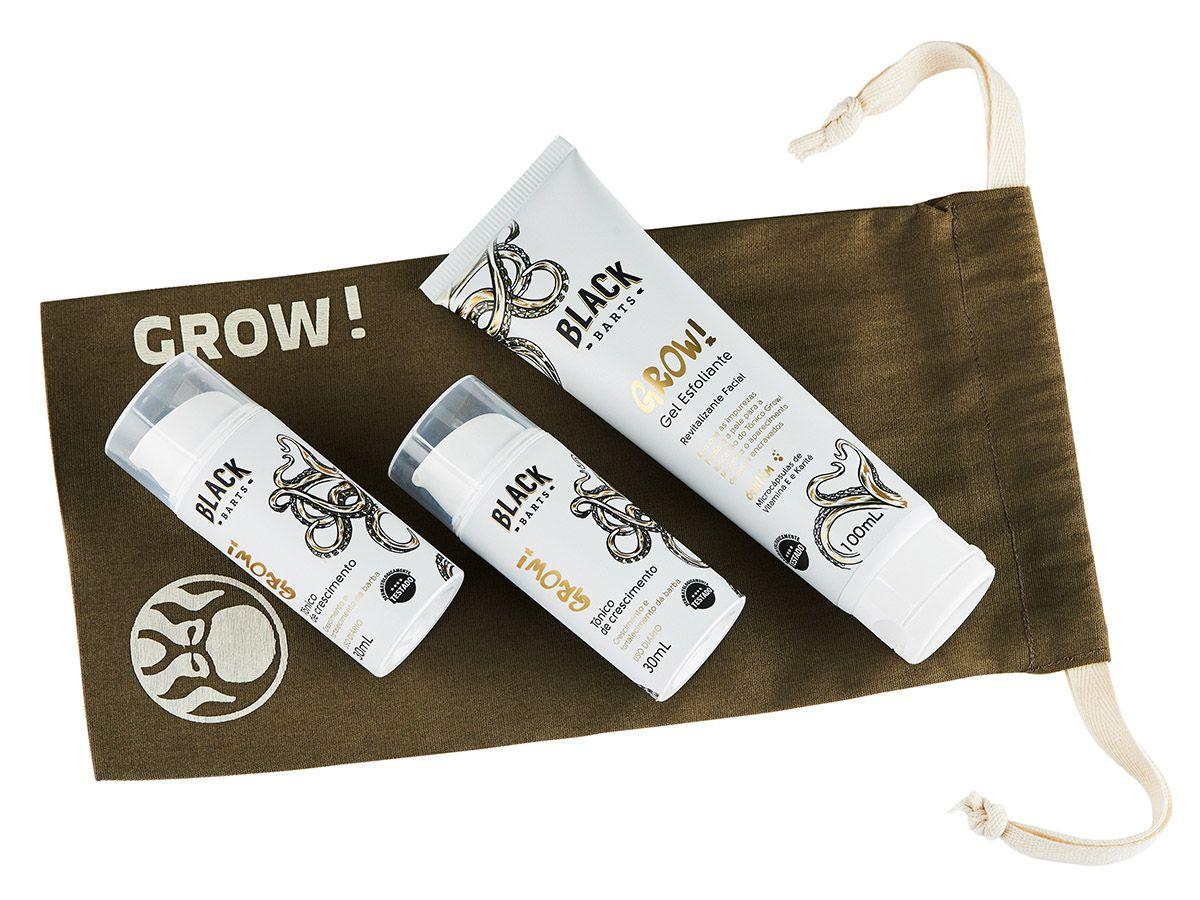 GROW! 2 Meses - 02 Tônico Para Crescimento de Barba Nanotecnológico + Preparador Esfoliante de pele + BAG Kit GROW! BLACK BARTS®  - Black Barts