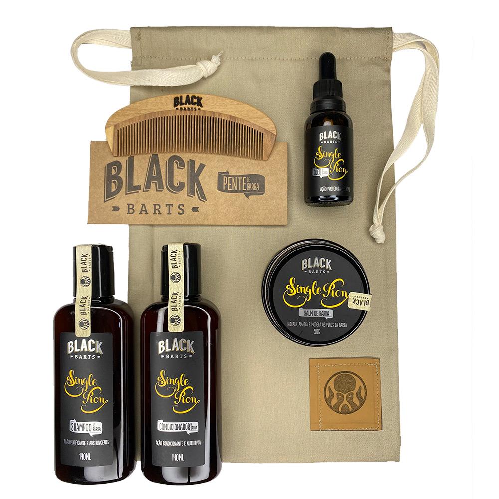 Kit + Bag Artesanal Exclusiva Com Óleo + Balm + Pente + Shampoo + Condicionador para Barba Black Barts® Single Ron  - Black Barts