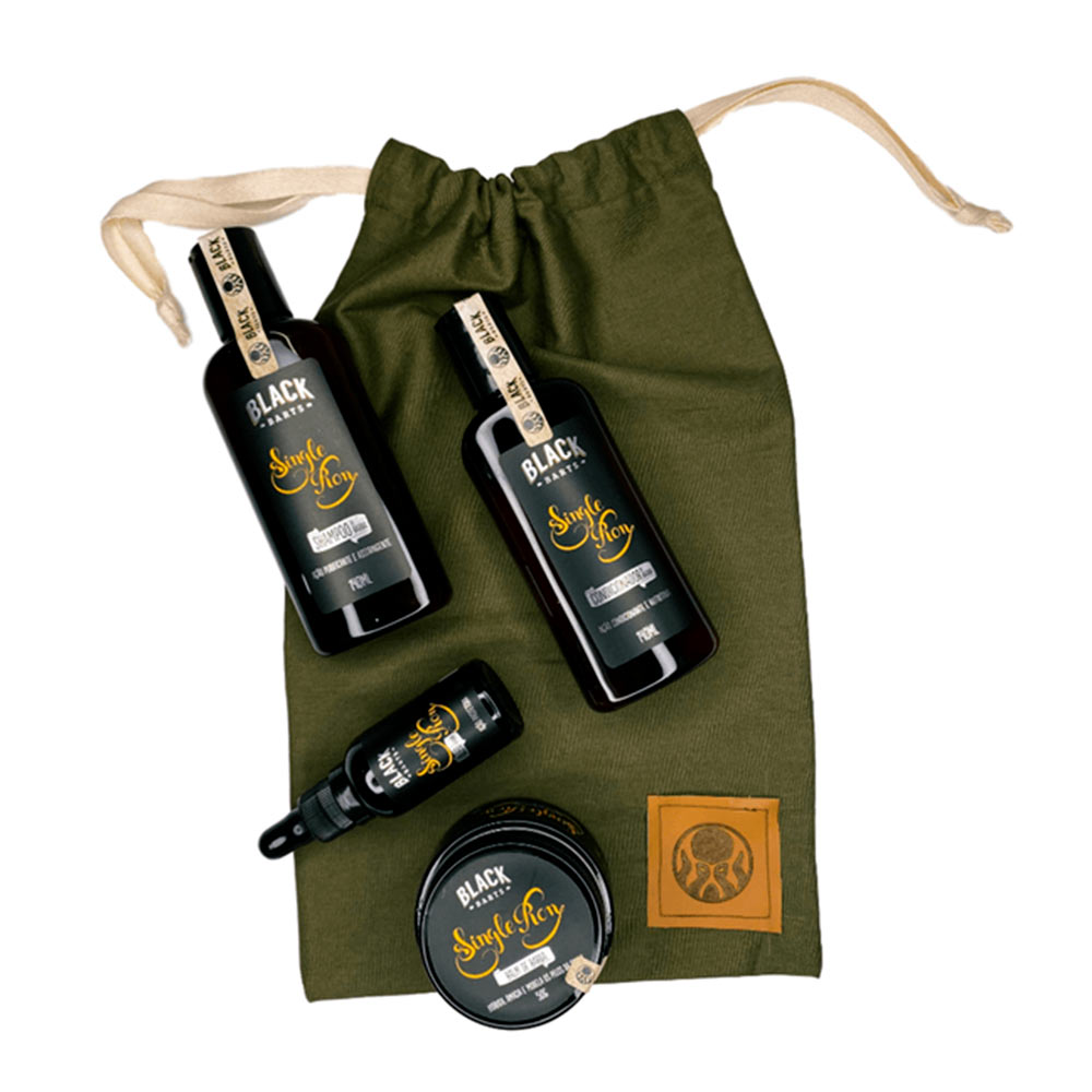 Kit + Bag Artesanal Exclusiva Com Shampoo + Condicionador + Balm + Óleo Black Barts®️    - Black Barts