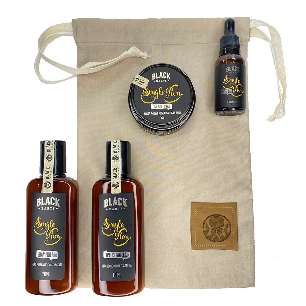Kit + Bag Artesanal Exclusiva Com Shampoo + Condicionador + Balm + Óleo Black Barts®  - Black Barts