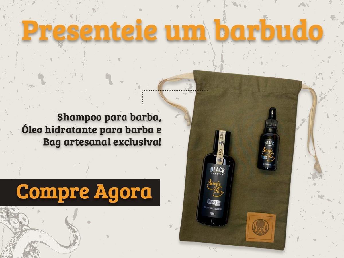 Kit + Bag Artesanal + Shampoo Para Limpeza de Barba + Óleo Hidratante de Barba Black Barts®  - Black Barts
