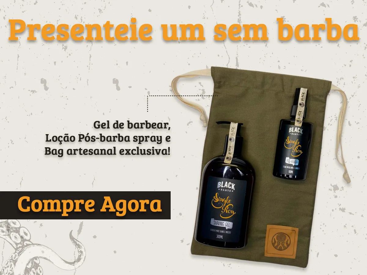 Kit + Bag Artesanal + Shaving Gel Creme de Barbear + Loção Pós Barba em Spray Black Barts®  - Black Barts