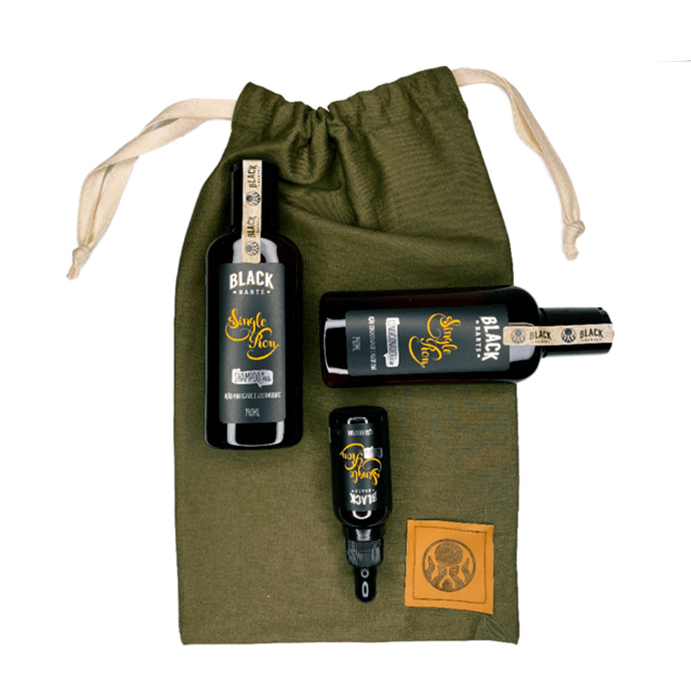 Kit + Bag de Presente com Óleo de Barba + Shampoo + Condicionador Black Barts® Single Ron  - Black Barts