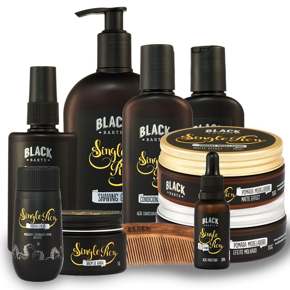 Kit Completão Barba e Cabelo Linha Completa Black Barts® Single Ron  - Black Barts