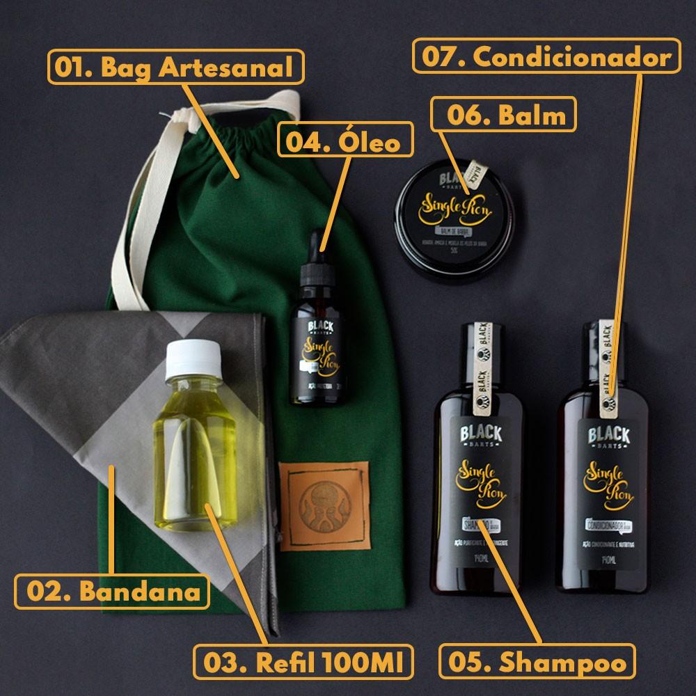 KIT 02 - BANDANA EXCLUSIVA BLACK BARTS + REFIL BLACK 100ML +  BAG ARTESANAL PARA PRESENTE + SHAMPOO + CONDICIONADOR DE BARBA + BALM MODELADOR DE BARBA + ÓLEO DE BARBA  - Black Barts
