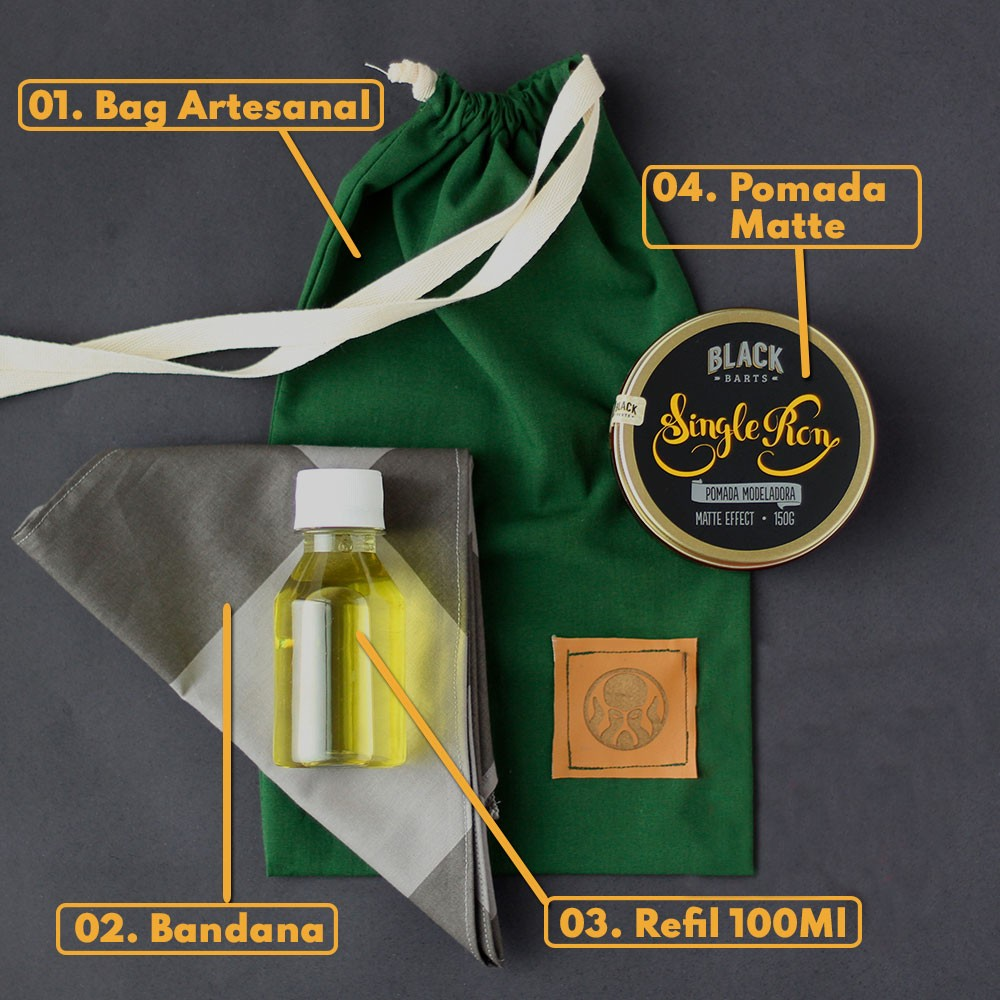 KIT 05 - BANDANA EXCLUSIVA BLACK BARTS + REFIL BLACK 100ML +  BAG ARTESANAL PARA PRESENTE + POMADA MODELADORA MATTE EFEITO SECO BLACK BARTS® 150g  - Black Barts