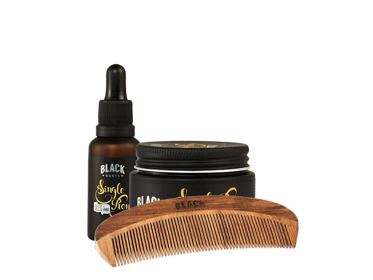 Kit Óleo de Barba + Balm Modelador em Cera + Pente de Barba Madeira Curvo Black Barts®  - Black Barts