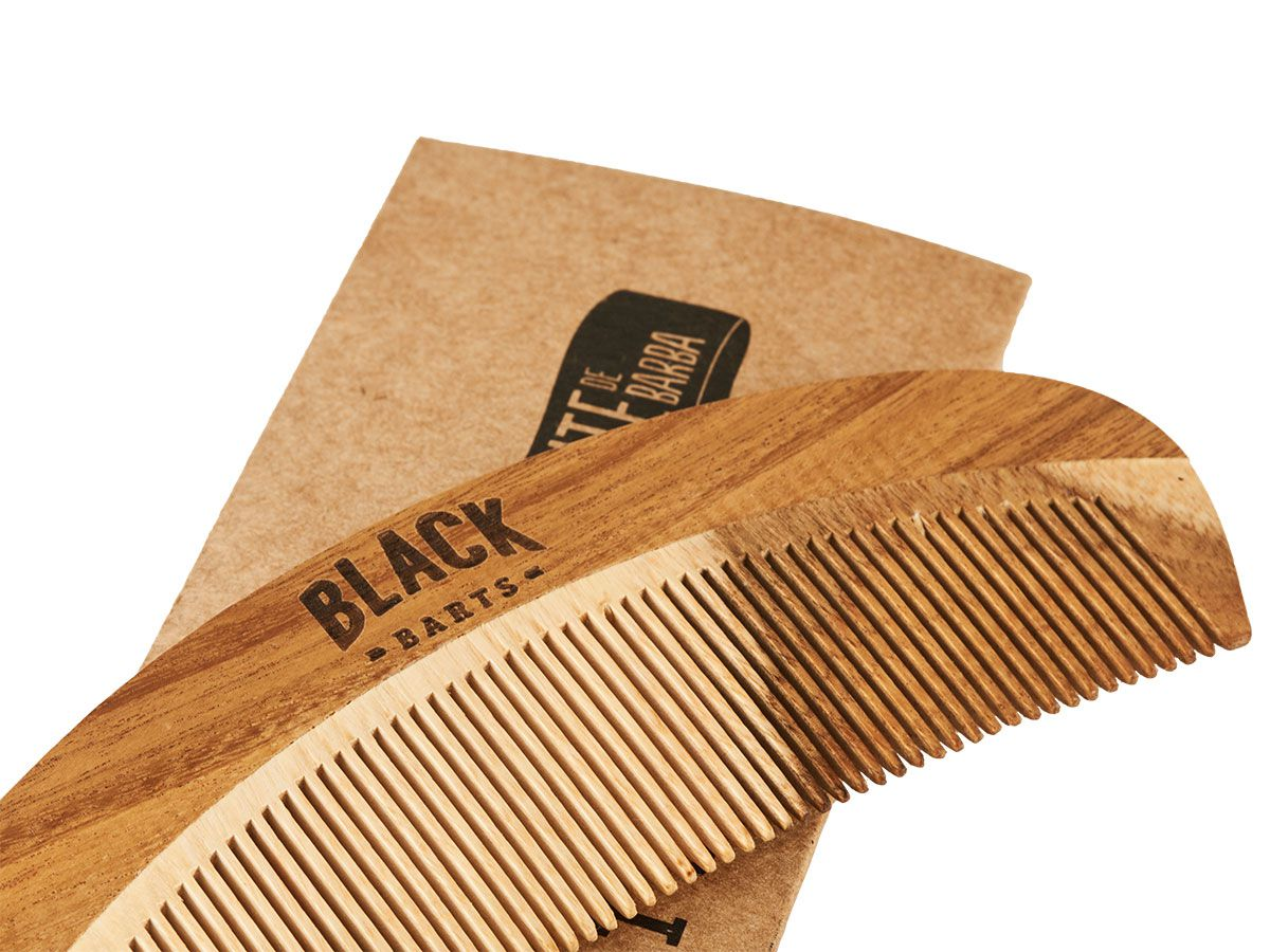 Kit Pente de Madeira Curvo + Óleo de Barba Black Barts® Single Ron  - Black Barts