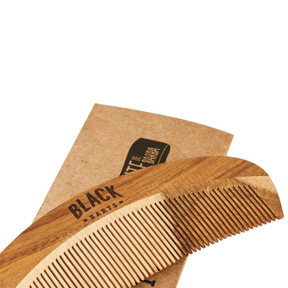 Kit Pente de Madeira + Shampoo + Condicionador para Barba Black Barts® Single Ron  - Black Barts