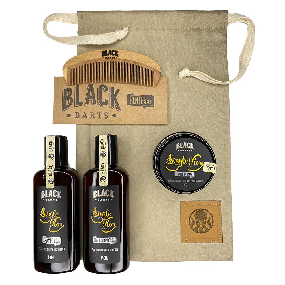 Kit Pente Grátis + Balm + Shampoo + Condicionador + Bag Artesanal  - Black Barts