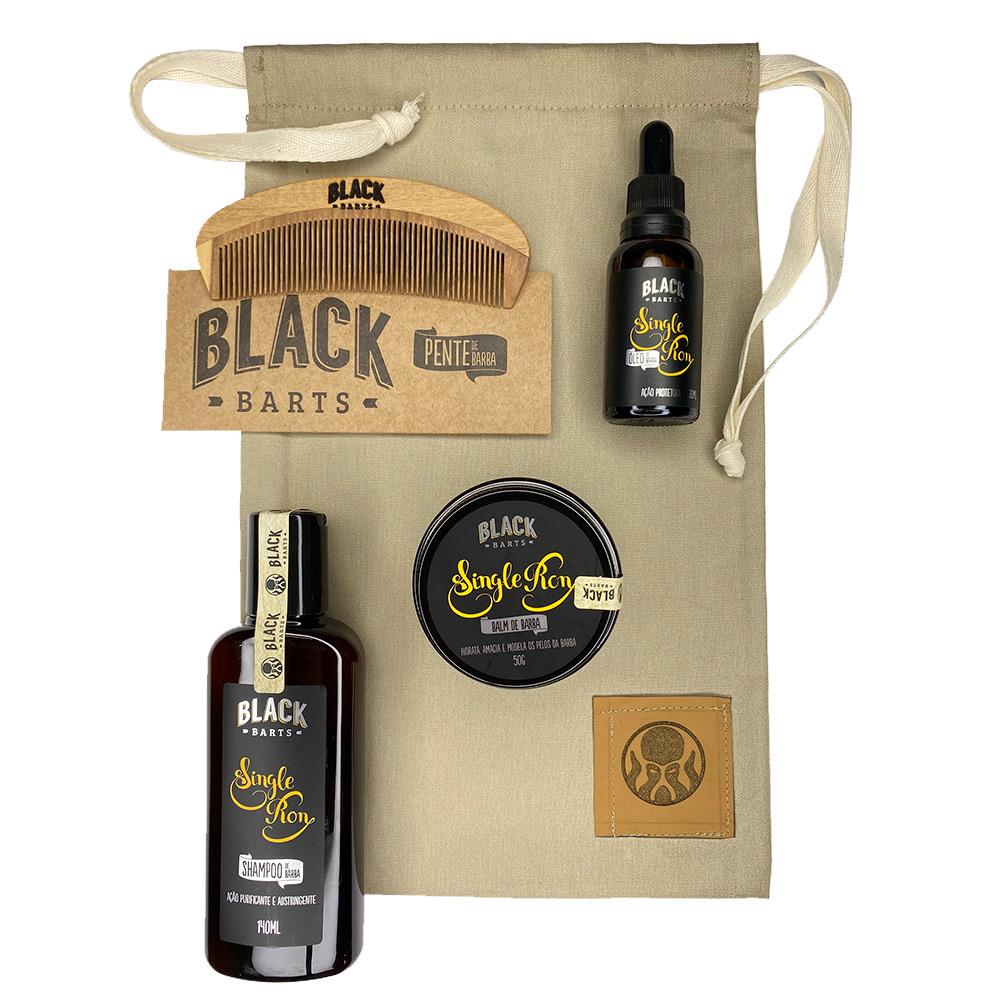 Kit Pente Grátis + Óleo + Balm + Shampoo + Bag Artesanal  - Black Barts