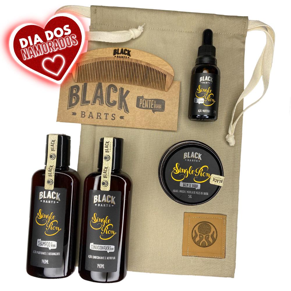 Kit Pente Grátis Personalizado + Balm + Óleo + Shampoo e Condicionador de Barba + Bag Artesanal  - Black Barts