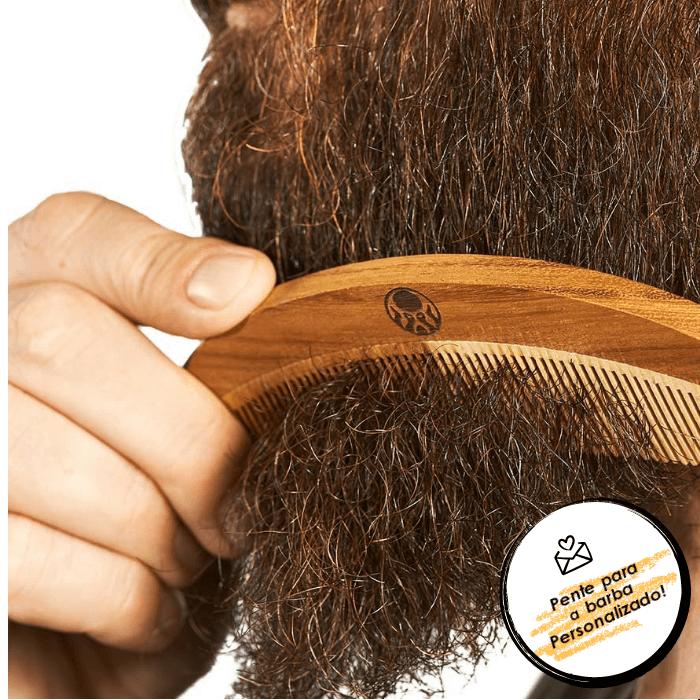 Kit Pente Grátis Personalizado + Balm + Shampoo e Condicionador de Barba + Bag Artesanal  - Black Barts