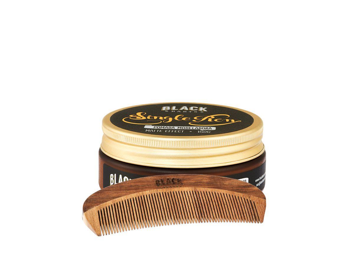 Kit Pomada Modeladora Matte Efeito Seco + Pente para Barba de Madeira Black Barts®  - Black Barts