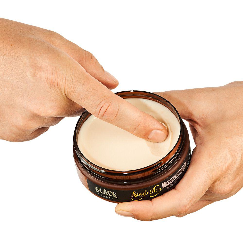Kit Pomada para Cabelo Masculino Matte Efeito Seco + Pomada Modeladora Efeito Molhado Brilho Black Barts®