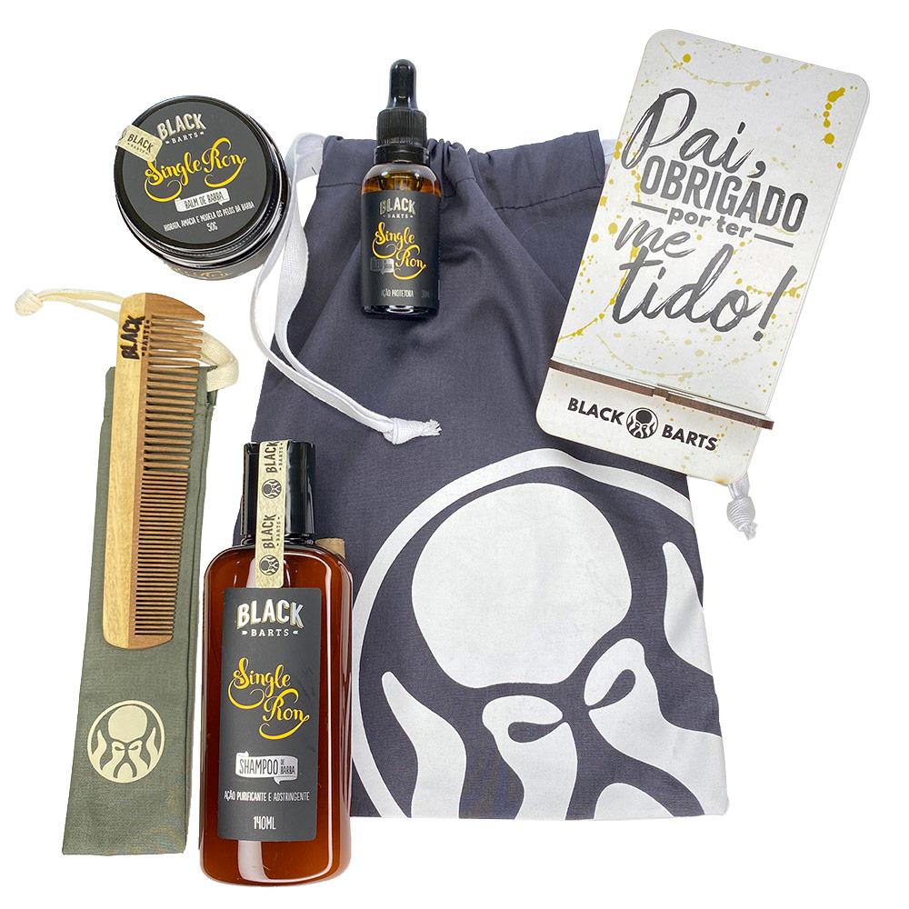 Kit Porta Celular Grátis + Balm + Óleo + Shampoo de Barba + Pente Personalizado + Bag Artesanal  - Black Barts