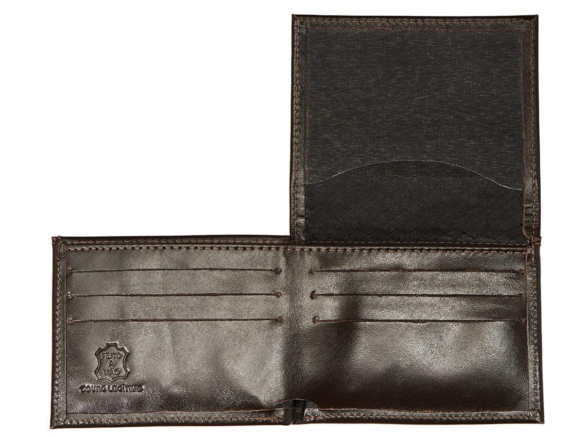 Kit Porta Celular Grátis + Carteira em Couro Marrom + Bag Artesanal  - Black Barts