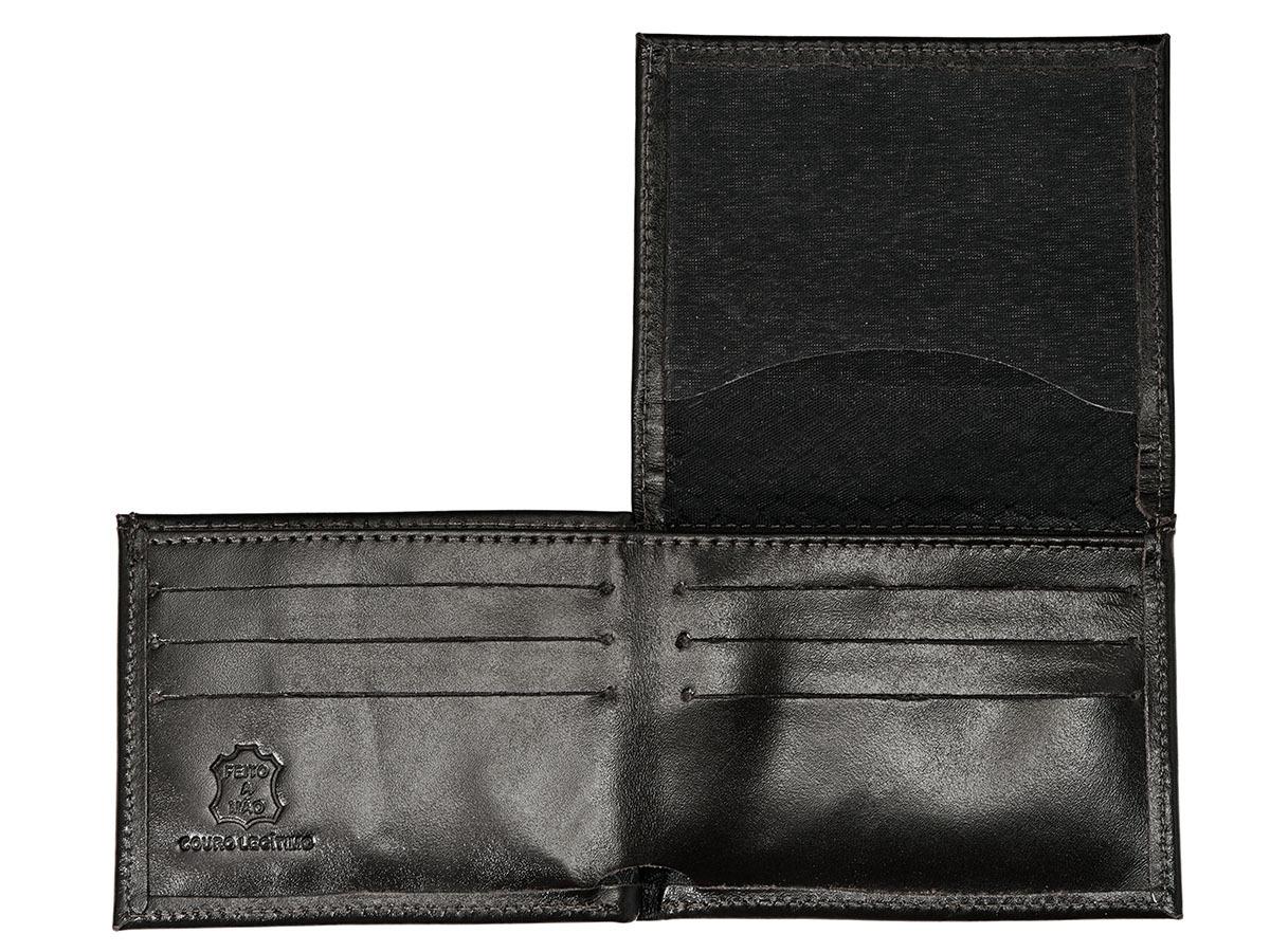Kit Porta Celular Grátis + Carteira em Couro Preta + Bag Artesanal  - Black Barts
