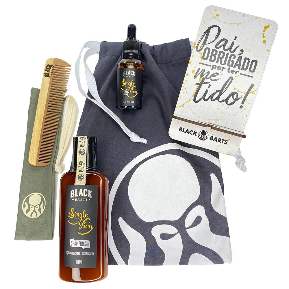 Kit Porta Celular Grátis + Óleo + Shampoo de Barba + Pente Personalizado + Bag Artesanal  - Black Barts