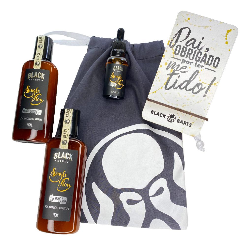 Kit Porta Celular Grátis + Óleo + Shampoo e Condicionador de Barba + Bag Artesanal  - Black Barts