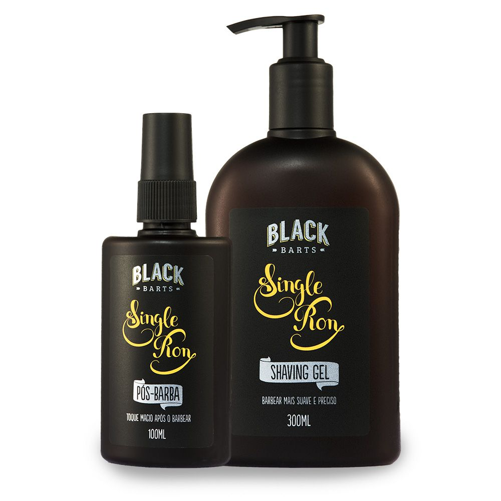 Kit Shaving Gel + Loção Pós Barba Spray Black Barts® Single Ron  - Black Barts