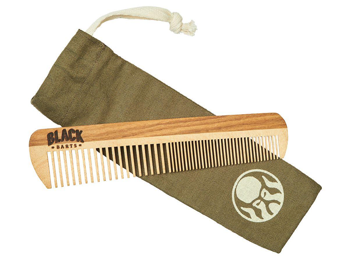 Pente De Madeira Para Barba Reto Duplo Dentes Largos + Bag Exclusiva Black Barts®  - Black Barts