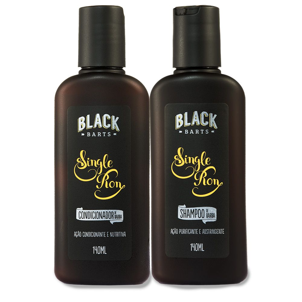 Kit Shampoo para Barba + Condicionador para Barba Black Barts® Single Ron