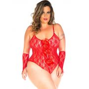 Body de Renda Lacinho + Luvas Vermelho Tropikanas