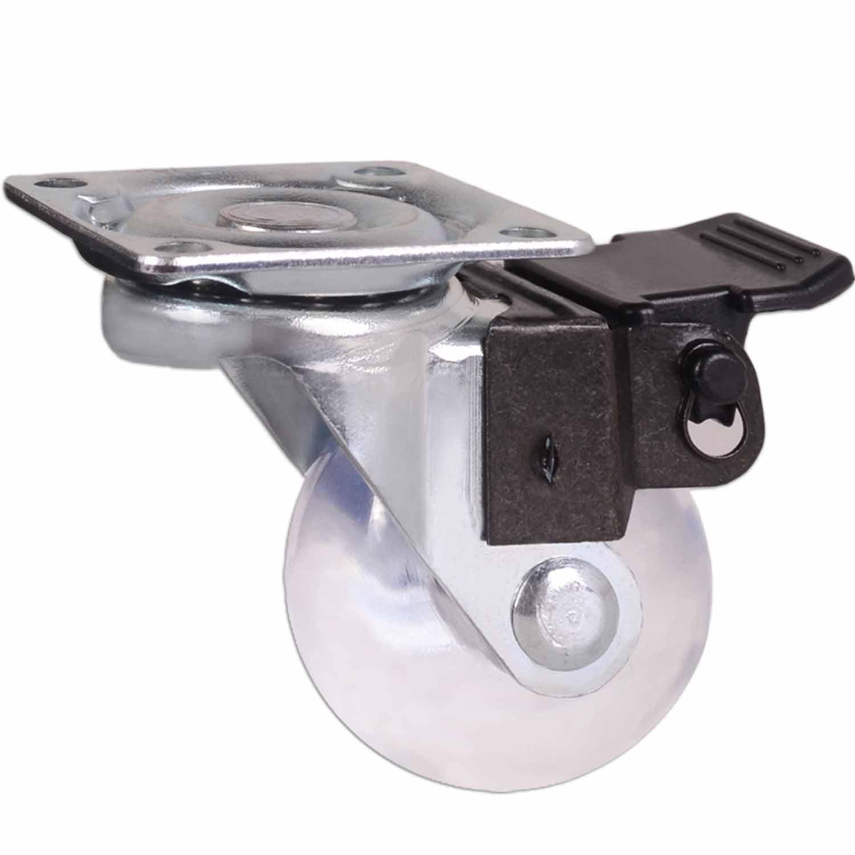 20 Roda Rodízio Giratório Silicone com Freio Rodinha Anti Risco 36mm 40kg